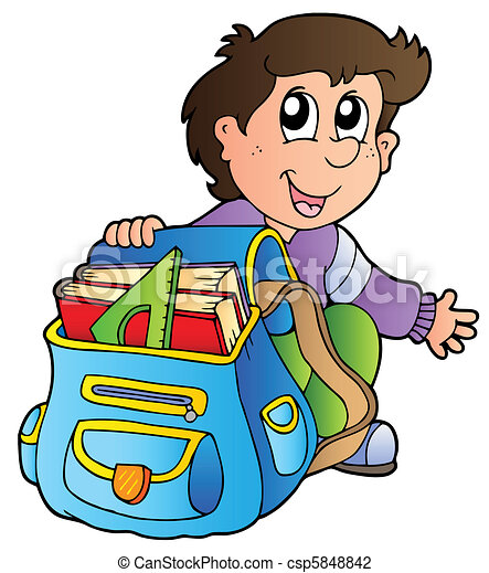 Cartoon boy with school bag - csp5848842