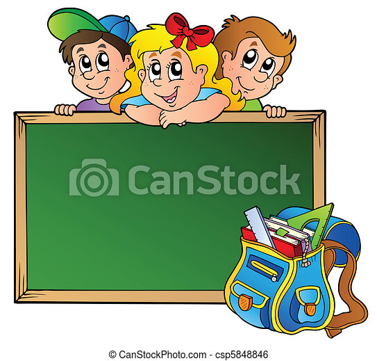 Board with children and school bag - csp5848846