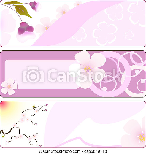 Spring flower banner with sakura.  - csp5849118