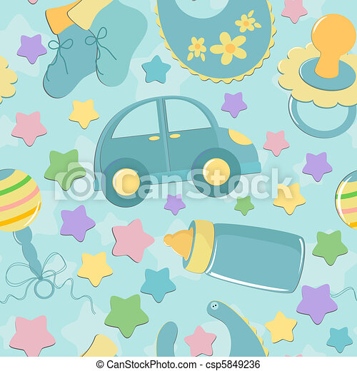 Seamless background with baby's toys - csp5849236