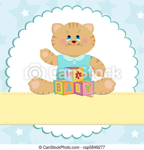 Baby's greetings card with kitty - csp5849277