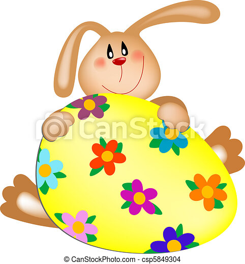 Easter bunny with a painted egg - csp5849304
