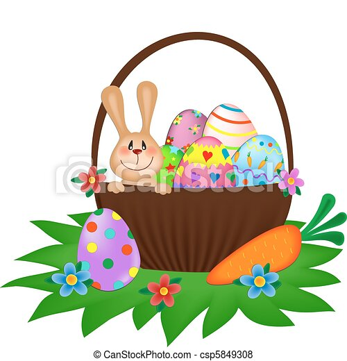Easter bunny with a painted eggs in the basket - csp5849308