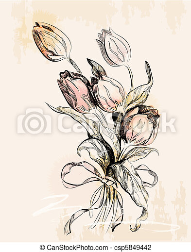 vintage greeting card with tulips - csp5849442