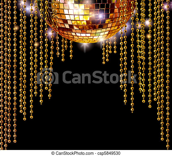 Golden disco ball and glitter curtains - csp5849530