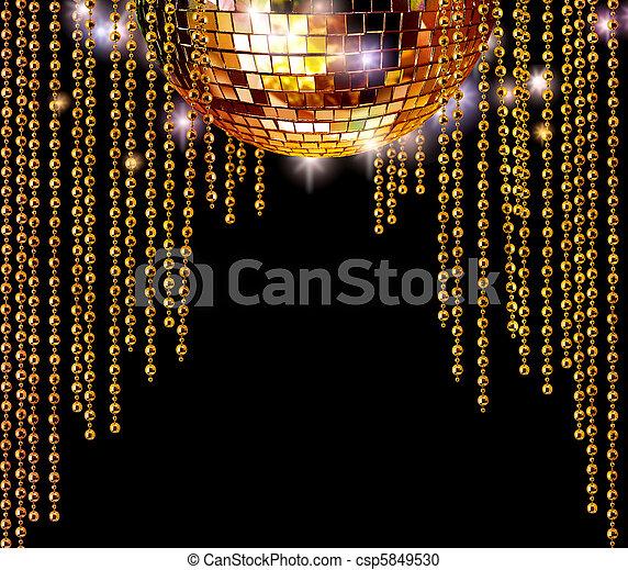 Golden disco ball and glitter curtains - csp5849530