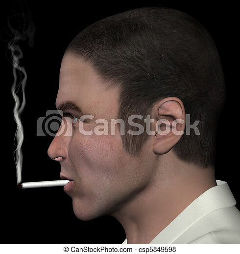 man smoking cigarette - csp5849598