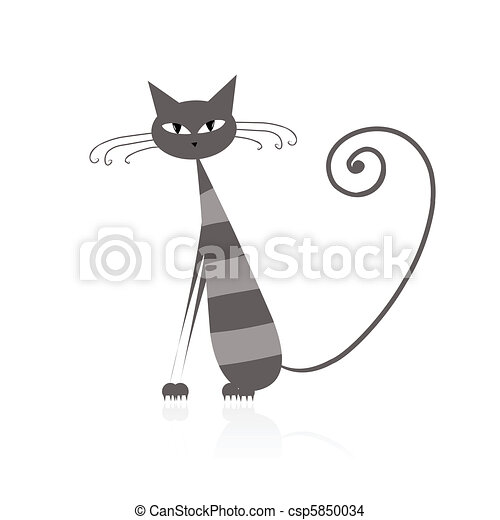 Funny grey striped cat for your design  - csp5850034