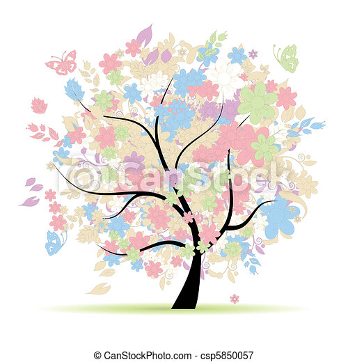 Floral tree in pastel colors for your design, spring - csp5850057