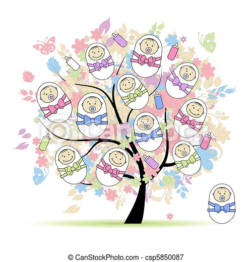 Floral tree with newborns for your design - csp5850087