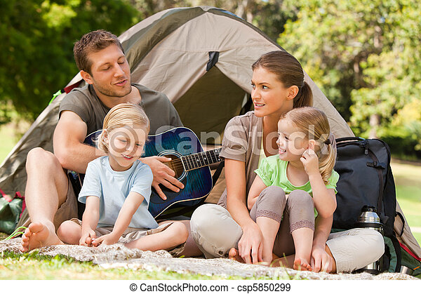 Family camping in the park - csp5850299