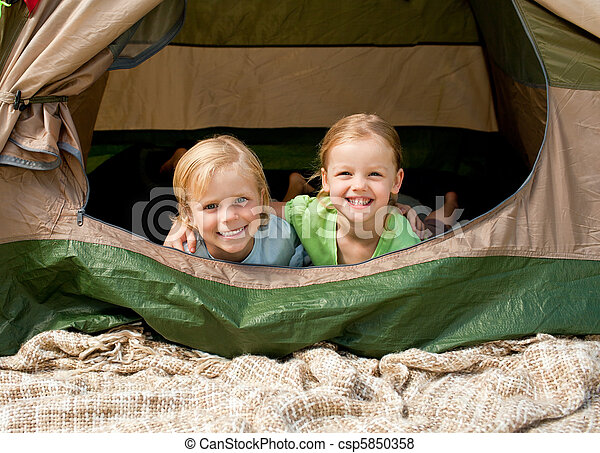 Happy family camping in the park - csp5850358