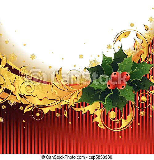 Christmas Background with Holly - csp5850380
