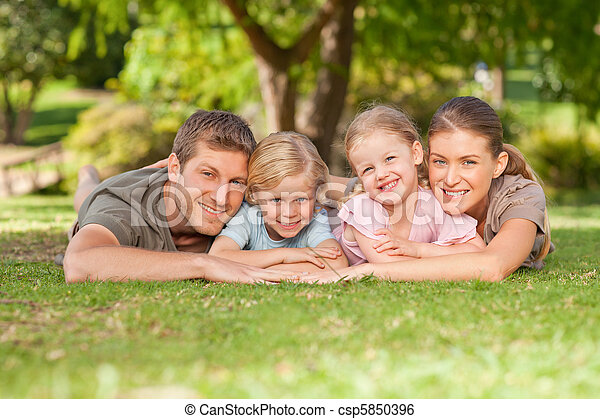 Lovely family in the park - csp5850396