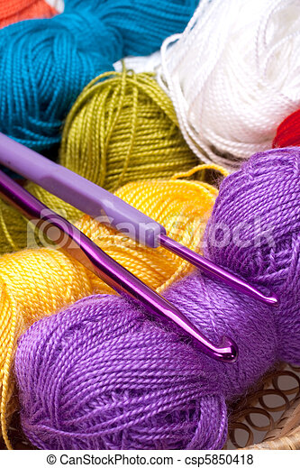 basket with thread and balls for knitting - csp5850418