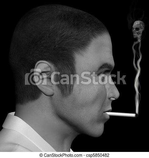 smoking man and smoke skull - csp5850482