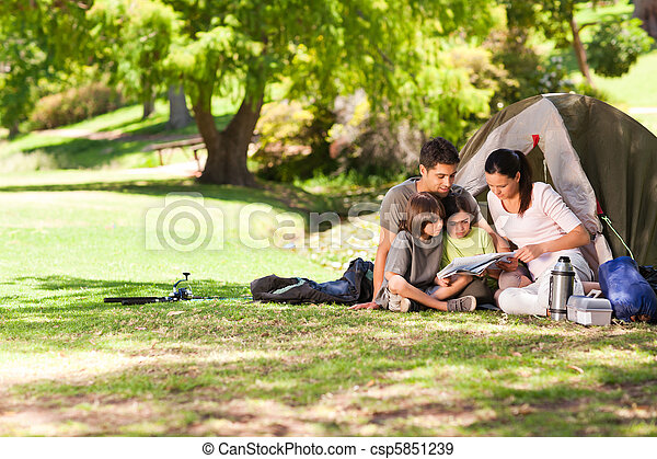 Joyful family camping in the park - csp5851239