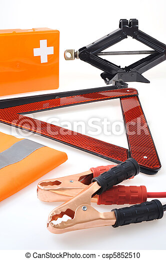Emergency kit for car - first aid kit, car jack, jumper cables, warning triangle, reflective vest - csp5852510