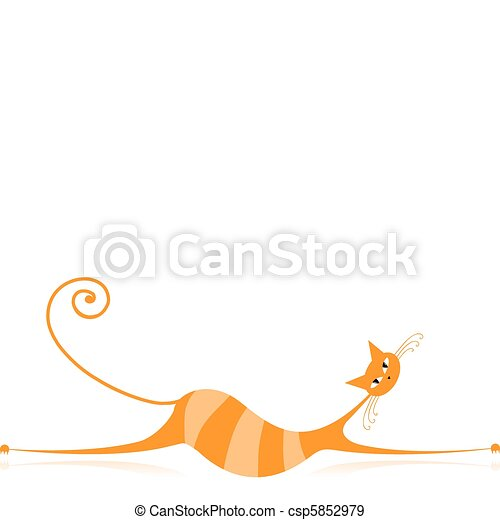 Graceful orange striped cat for your design - csp5852979