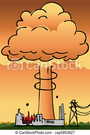 Vectors Illustration of Nuclear Power Plant Disaster - Hydrogen ...