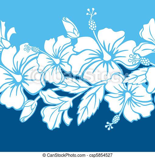 Seamless Hibiscus Hybrid Pattern - csp5854527