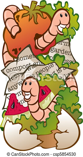 Vector Clipart of Worm Composting - Vector Illustration of a worm ...