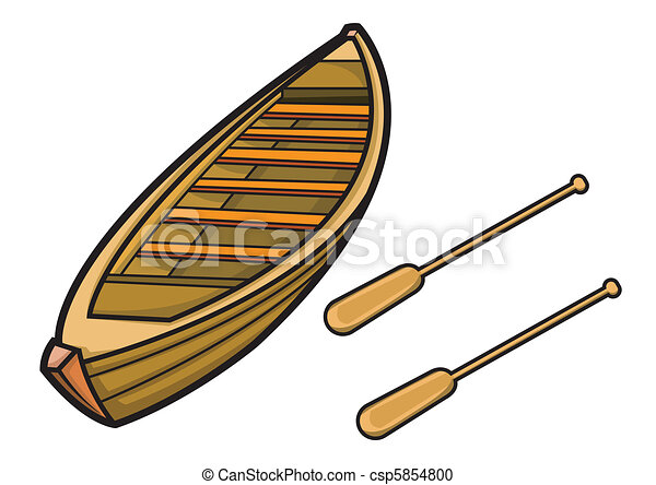 Vector Clipart of Boat with Paddle in Vector Illustration csp5854800 - Search Clip Art ...