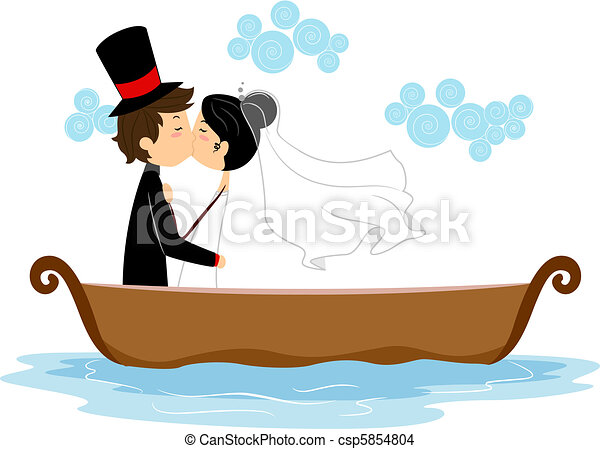 Newlyweds Kissing in a Boat - csp5854804