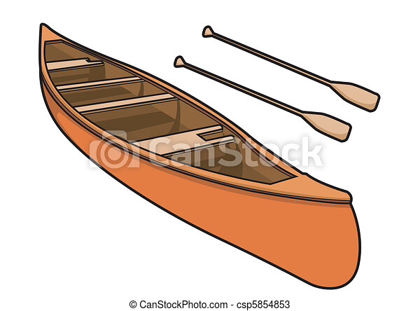 Vectors of Canoe with Paddle in Vector Illustration - Kayak or Canoe... csp5854853 - Search Clip ...
