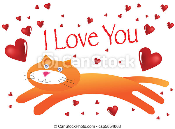 Cat I Love You Illustration in Vector - csp5854863