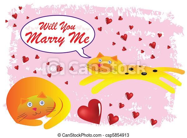 Cat Will You Marry Me Illustration in Vector - csp5854913