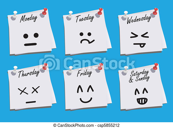 Daily Faces Expression on Paper Notes with Blue Background - csp5855212