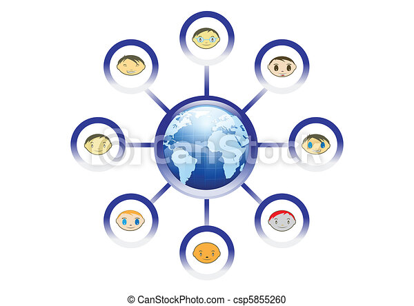 Global Friends Network Illustration in Vector - csp5855260