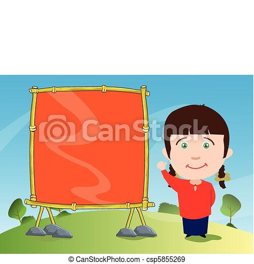Young Girl With Empty Wooden Signage - csp5855269