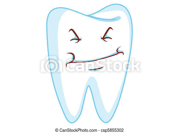 Grin Tooth Cartoon Character Illustration in Vector - csp5855302