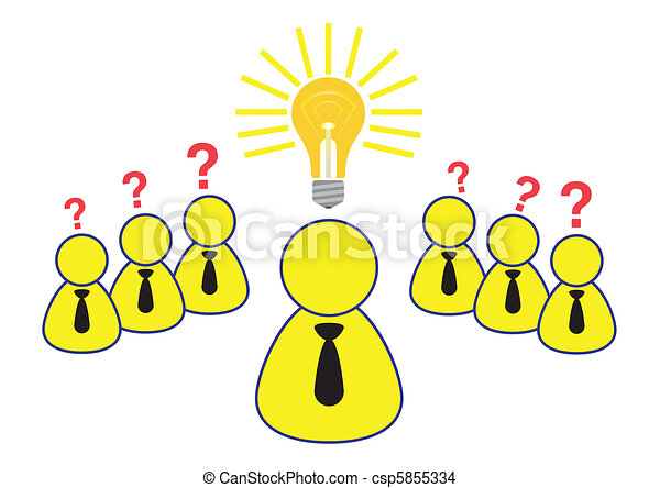 Employee Brainstorming Ideas Illustration in Vector - csp5855334