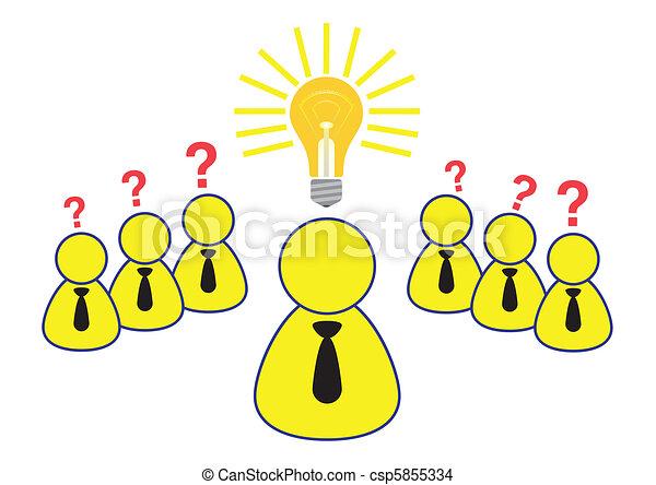 Employee Brainstorming Ideas Illustration in Vector - csp5855334