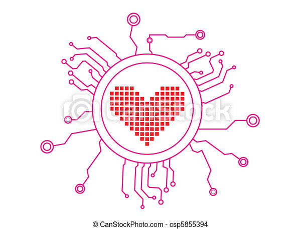 Love Icon Circuit Illustration in Vector - csp5855394