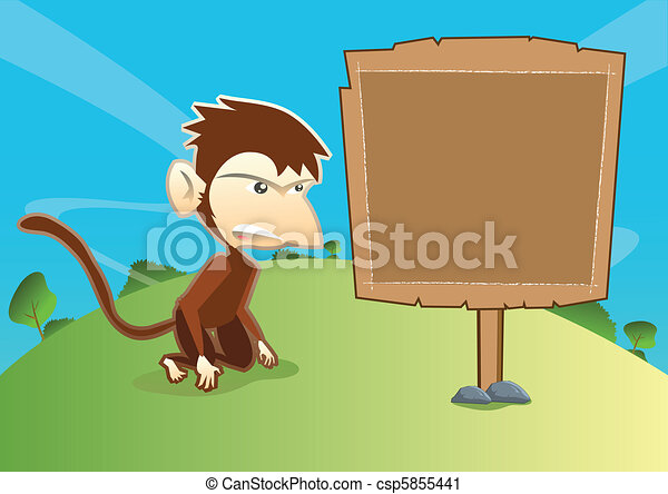 Monkey With Empty Wooden Signage - csp5855441