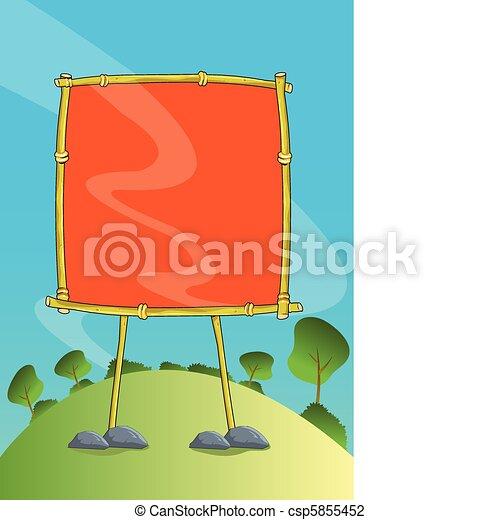 Nature Bamboo Signage Illustration - csp5855452