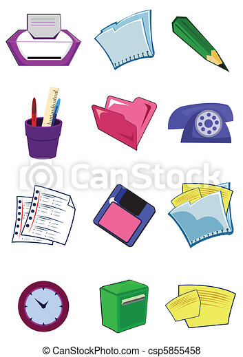 Office equipment and stationery in vector - csp5855458