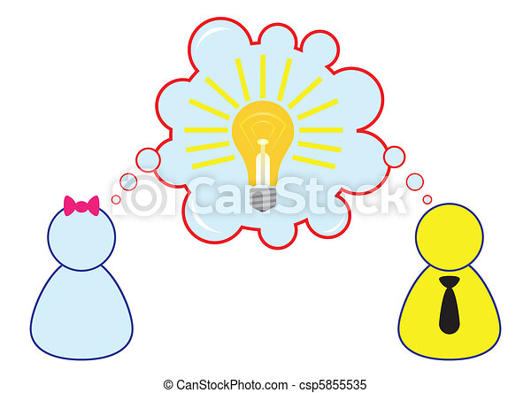 Employee Sharing Ideas While Brainstorming Illustration in Vector - csp5855535