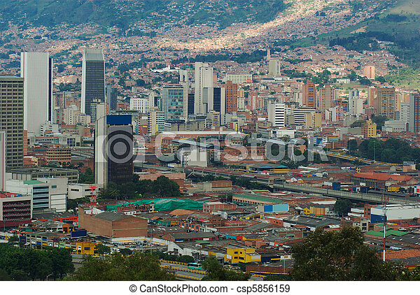 The city center of Medellin, the second biggest city in Colombia, which is the capital of the Department of Antioquia - csp5856159
