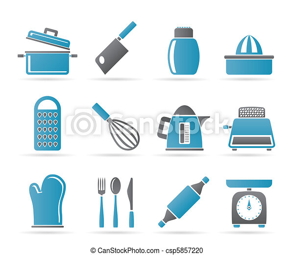 Kitchen and household Utensil Icons - csp5857220