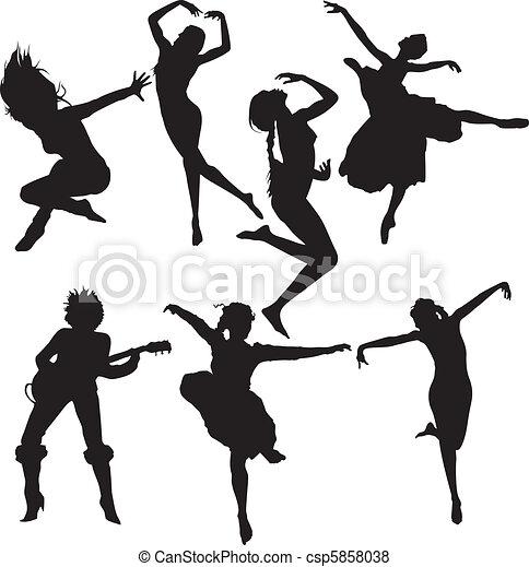 Vector de bailando, mujeres, Siluetas - Un, Conjunto, bailando ...
