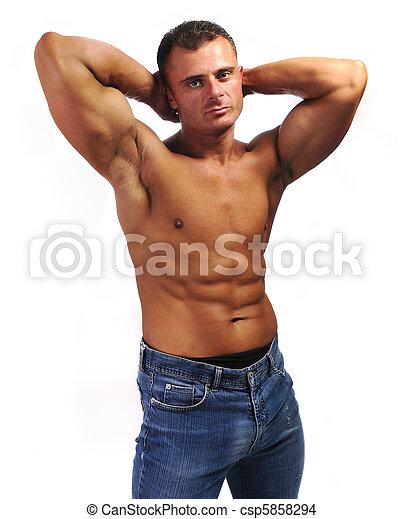Banco de imagem - Macho, homem, Calças brim, peito
