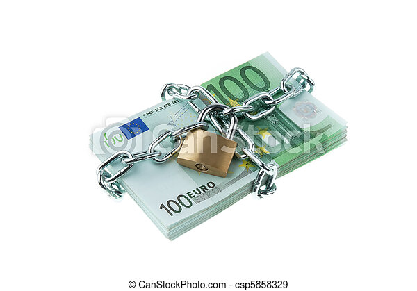 Euro bank notes with a lock and chain. - csp5858329