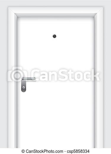 Door with handle, lock and viewer - csp5858334
