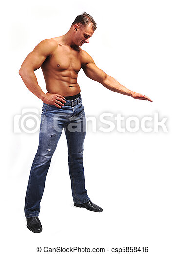 Macho musculature man with a copy space box isolated on white - great for your text or picture under his hand - csp5858416