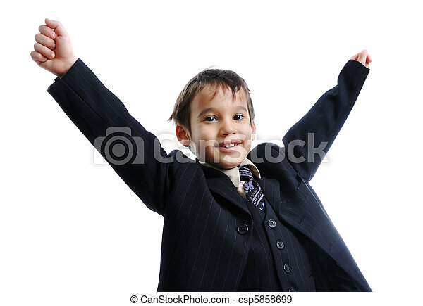Little cute kid, wearing a business suit with a tie, celebrating a win, success - csp5858699